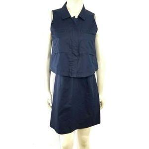 Theory Sleeveless Navy Shirt Romper Dress